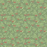 Rowan berry seamless pattern in flat simple style. Doodle floral Stock Photography