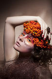 Rowan berry wreath. Retro style. Beauty woman face Royalty Free Stock Photo