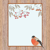 Rowan and bullfinch in a frame Royalty Free Stock Photography