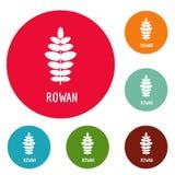 Rowan leaf icons circle set vector. Isolated on white background Royalty Free Stock Photos