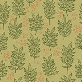 Rowan leaves. Hand drawn Vector seamless pattern. Rowan leaves. Vector seamless pattern. Hand drawn. For covers, printing on fabric, wedding or celebration stock photos