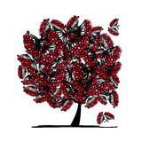 Rowan tree, sketch for your design Stock Photography