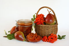 Rowanberries and pears jam. Homemade jam made from organic pears and wild rowanberries stock photo