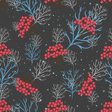 Rowanberry branch seamless pattern. Vector background Royalty Free Stock Images