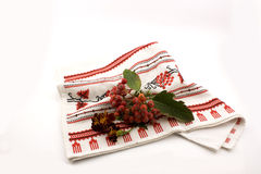 Rowanberry on embroidery Royalty Free Stock Photos