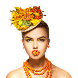Rowanberry summer style portrait of young beautiful girl with ro Stock Images