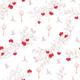 Rowanberry tree, birds and dangling keys seamless vector print. Royalty Free Stock Photo