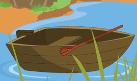 Rowboat. A rowboat floats on the swamps Stock Photography