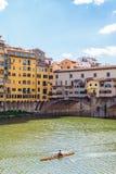 Rowboat in Arno river Stock Image
