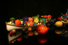 A rowboat in Chihuly Glass garden Royalty Free Stock Photography
