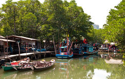 Rowboat floating  in  Koh Chang, Thailand Royalty Free Stock Photo