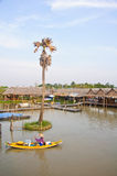 Rowboat in the floating market Royalty Free Stock Images