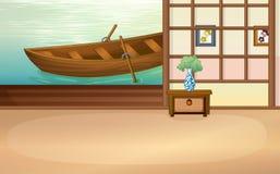 Rowboat floating outside the house Stock Photo