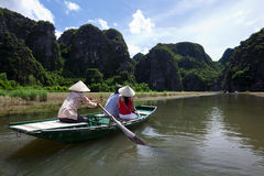 Rowboat at Halong Bay Stock Photo