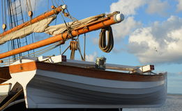 Rowboat hanging at the stern of sail ship Royalty Free Stock Photography