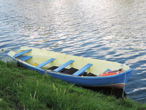 Rowboat in lake, Lithuania Stock Images