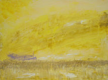 Rowboat in Marsh. Abstract Expressionist Oil Paint, titled, Rowboat in Marsh 18 x 24 on canvas stock photos