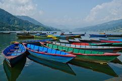 Rowboat at phewa lake,pokhara,nepal Stock Photos