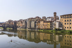 Rowboat on River Arno Stock Images