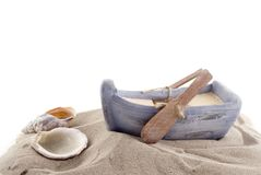 Rowboat with shells stock photos