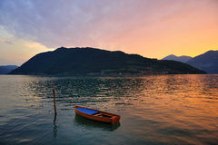 Rowboat and sunset Royalty Free Stock Image
