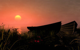 Rowboat On The Sunset Royalty Free Stock Images