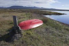 Rowboat at Thingvellir lake in Iceland Royalty Free Stock Image