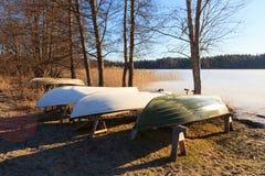 Rowboats в хранении зимы Стоковые Изображения RF