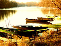 Rowboats. Some rowboats in sunset. Picture was taken in germany on a abbandoned lake. It was a very lownnoise mood in the time the sun goes down Royalty Free Stock Photography