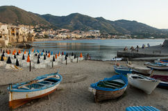 Rowboats on the beach of Cefalu, Italy Royalty Free Stock Images