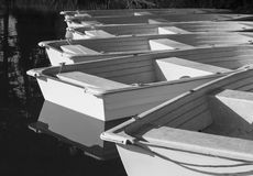 Rowboats, in Black and White Stock Image