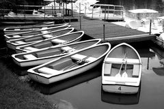 Rowboats in black and white. Rowboats black and white in Park Royalty Free Stock Images