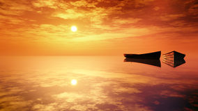 Rowboats On The Calm Water. Rowboats on the surface of still waters during a soft and partially cloudy warm sunset environment Royalty Free Stock Photography