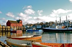 Rowboats in a fishing village Stock Image