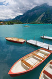 Rowboats on Lake Brienz, Berne Canton, Switzerland. Rowboats on Lake Brienz in the district of Interlaken in the canton of Berne in Switzerland Stock Images