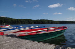 Rowboats at a lake in germany Stock Photo