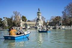 Rowboats, Lake in Retiro park, Madrid Spain Royalty Free Stock Photo