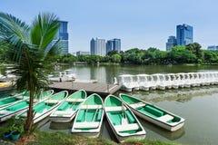 Rowboats in Lumphini Park; Bangkok Stock Images