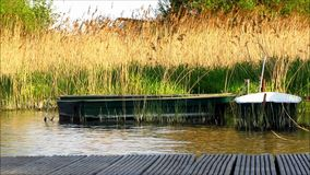 Rowboats Moored Wooden Jetty. Two small green rowboats in water close to wooden jetty. Grass and reed in background. Natural scene on lake or river stock footage