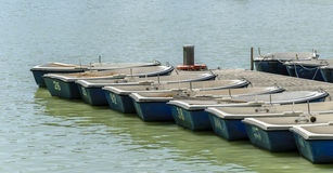 Rowboats in the pier numbered ready to rent Royalty Free Stock Photography