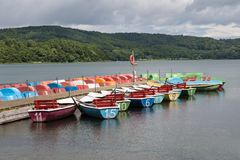 Rowboats for rental in a German lake Royalty Free Stock Images