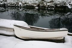 Rowboats in Snow Royalty Free Stock Photography