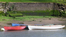 Rowboats Tide-up by the River Side. Three empty row boats tied by the river bank waiting to be used Royalty Free Stock Photography