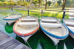 Rowboats. Tied to a pier Stock Images