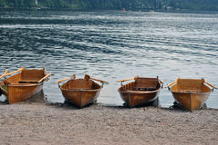 Rowboats on the Titisee - Black Forest. Four rowboats on the Titisee lake Royalty Free Stock Photos