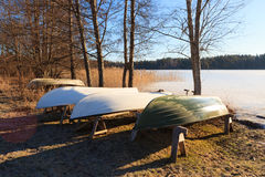 Rowboats in winter storage Royalty Free Stock Images