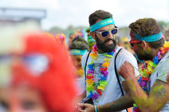 Rowds of unidentified people at The Color Run Royalty Free Stock Image