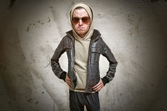 Rowdy. Cool man with leather jacket Stock Photography
