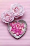 Różowe róże i płatki różowią tło Fotografia Stock
