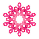 Różowej faborku nowotworu piersi świadomości symboliczny dekoracyjny kwiat, symbol ludzie zbiera, pomoc i poparcie, Fotografia Royalty Free